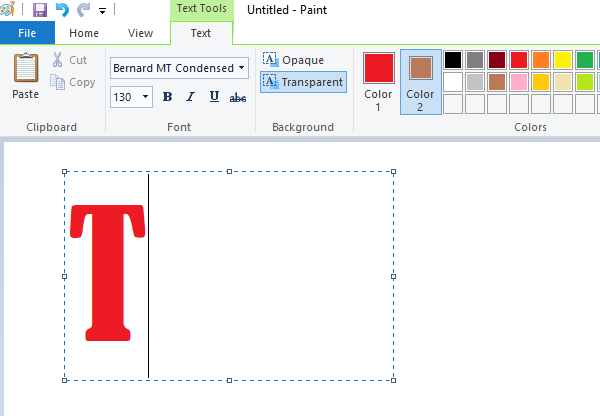 How to add text and change color in MS Paint in Windows 10