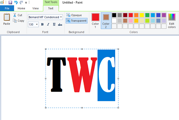 Change Text color in MS Paint