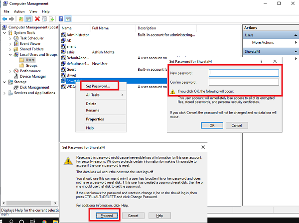 Change User Password from Computer Management