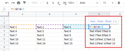 Merge & combine columns without losing data in Excel