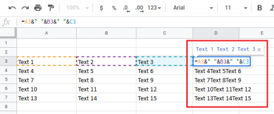 Combine text across 3 columns with space