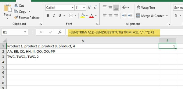 Count comma separated values in a single cell in Excel and Google Sheets
