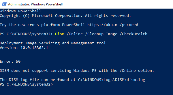 Error 50, DISM does not support servicing Windows PE with the online option