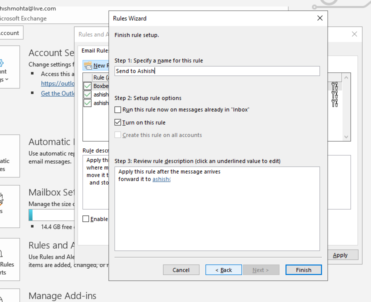 Final Steps to Rules in Outlook