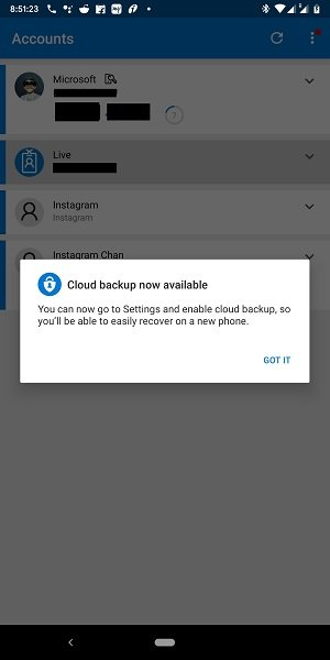 Cloud Backup for Microsoft Authenticator app