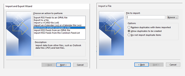 Import Option in Outlook NSF files