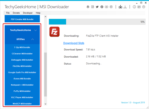 MSI Downloader for Windows systems