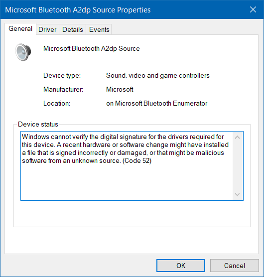 Microsoft Bluetooth A2dp source not working properly (Code 52)