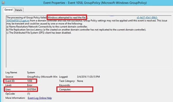 Processing of Group Policy failed Event ID 1058