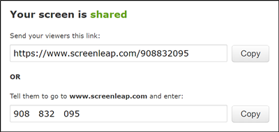 Screenleap is a free screen sharing tool