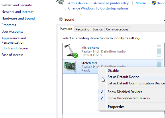 Stereo Mix Windows 10 is not working not showing not picking audio