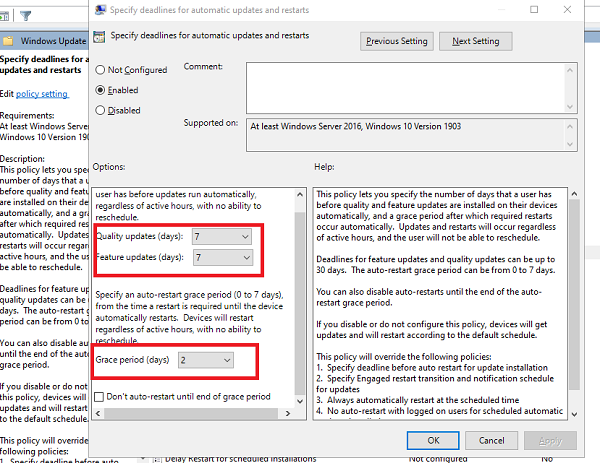 specify deadline before auto-restart for Update installation using Group Policy Editor