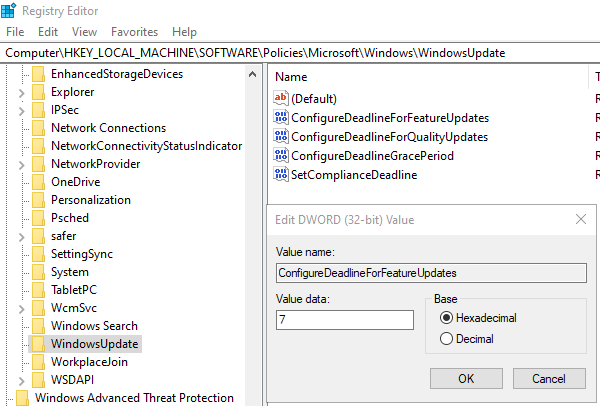specify deadline before auto-restart for Update installation using Registry Editor