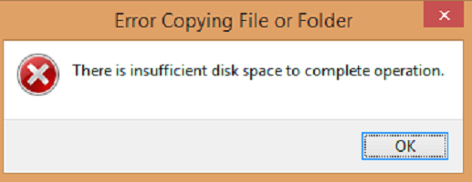 There is insufficient disk space to complete operation even after running Disk Cleanup