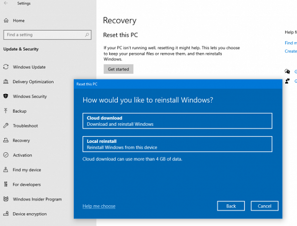 Cloud Reset Reinstall Windows 10