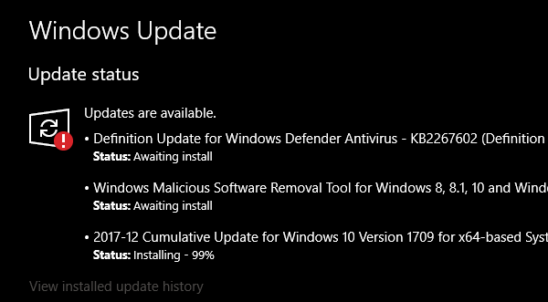 Windows Update Awaiting Install
