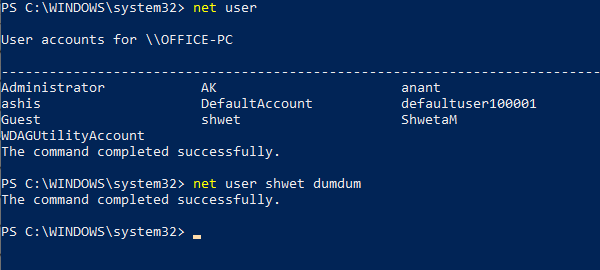Net user command to manager users