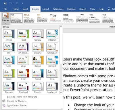 Change document theme colors in Word or Excel