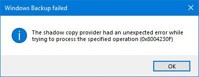 The shadow copy provider had an unexpected error while trying to process the specified operation (0x8004230F)