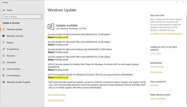 windows update status pedning install