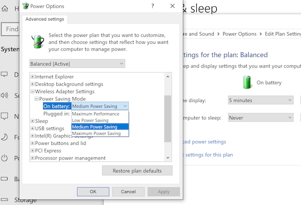 Advanced Power Plan Settings