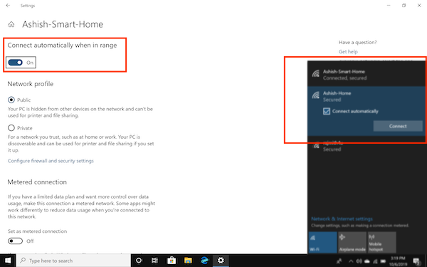Auto connect to Wifi Windows 10