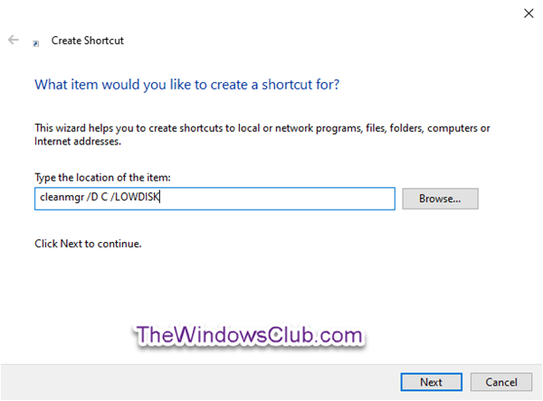 Create a shortcut to open Disk Cleanup with All Items Selected