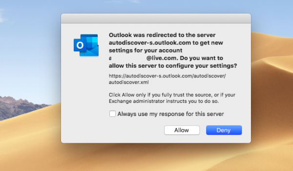 How to suppress the AutoDiscover Redirect warning in Outlook for Mac