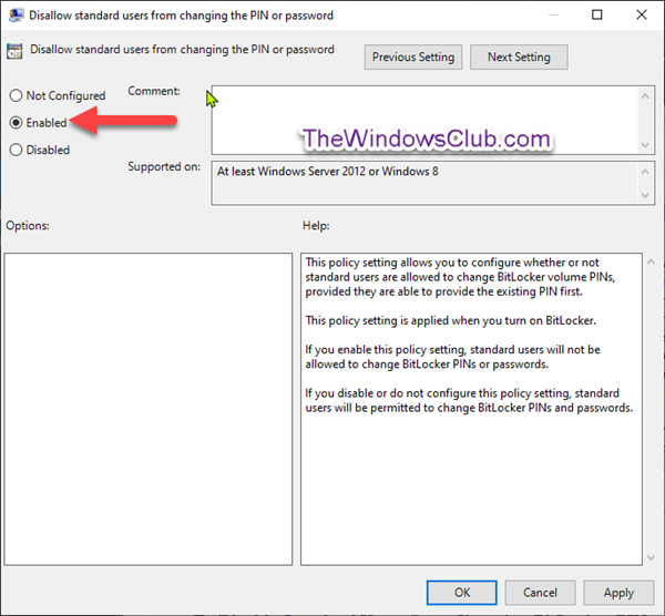 Prevent Standard Users from Changing BitLocker PINs or Passwords