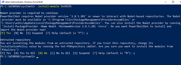 Install SetBIOS Module from PowerShell Gallery