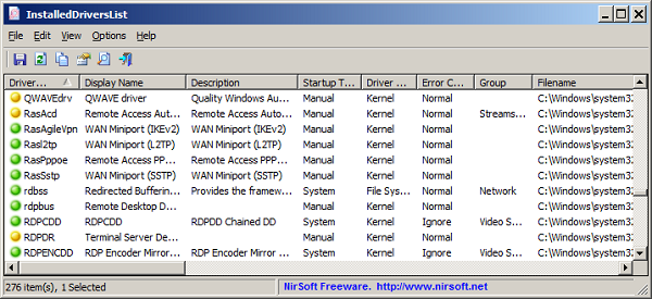 Nirsoft installed drivers list
