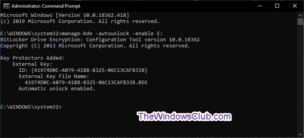 Turn On or Off Auto-unlock for BitLocker Encrypted Data Drives