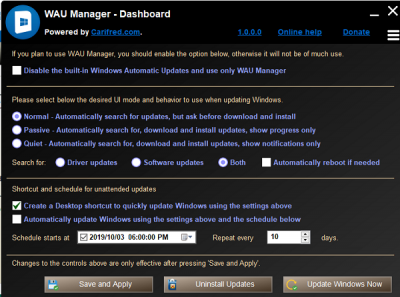 Windows Automatic Updates Manager for Windows 10