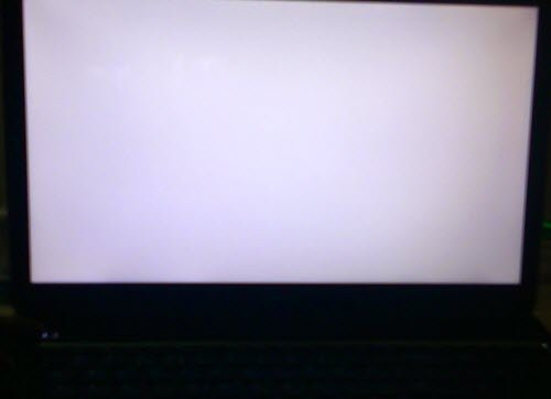 White screen on Windows laptop monitor