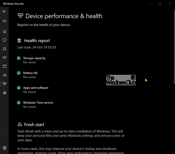 Device Performance & Health in Windows 10