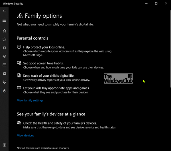 Family Options in Windows 10