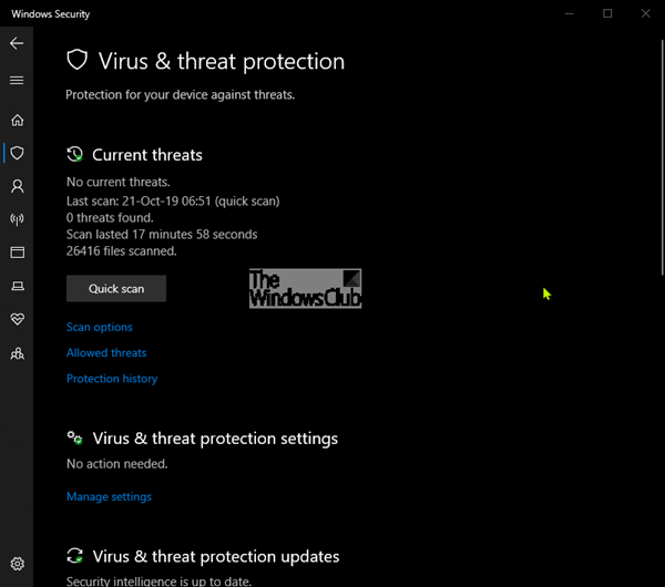 Virus and Threat Protection in Windows 10