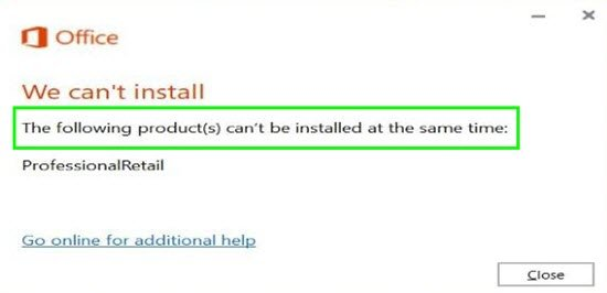 The following products cannot be installed at the same time