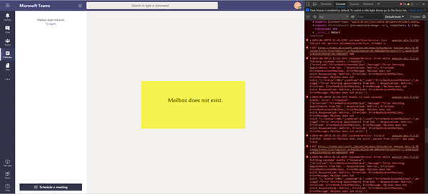 Mailbox does not exist error in Microsoft Teams