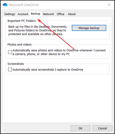 OneDrive Backup tab is missing