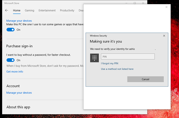 change purchase sign-in settings Windows Store