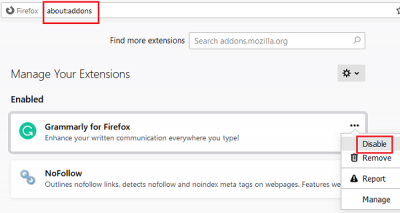 Disable extensions