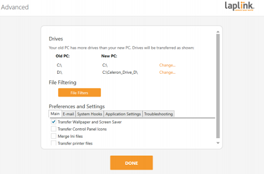 PCmover Migrate User Settings