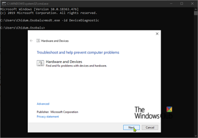 Hardware and Devices Troubleshooter_Windows10