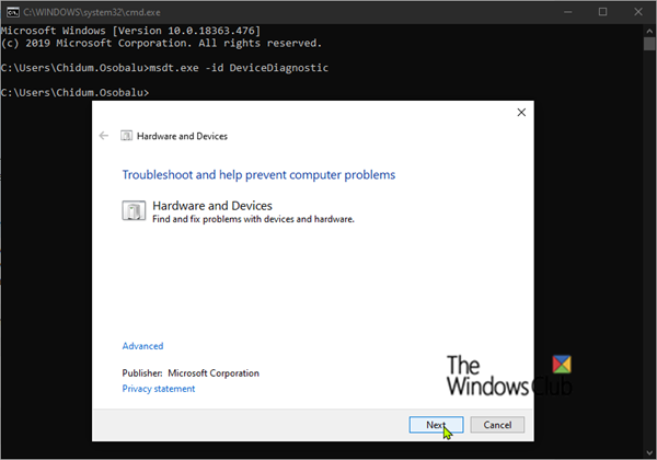 Hardware and Devices Troubleshooter missing in Windows 10