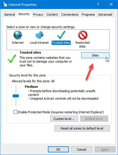 How to add a Trusted Site in Windows 10