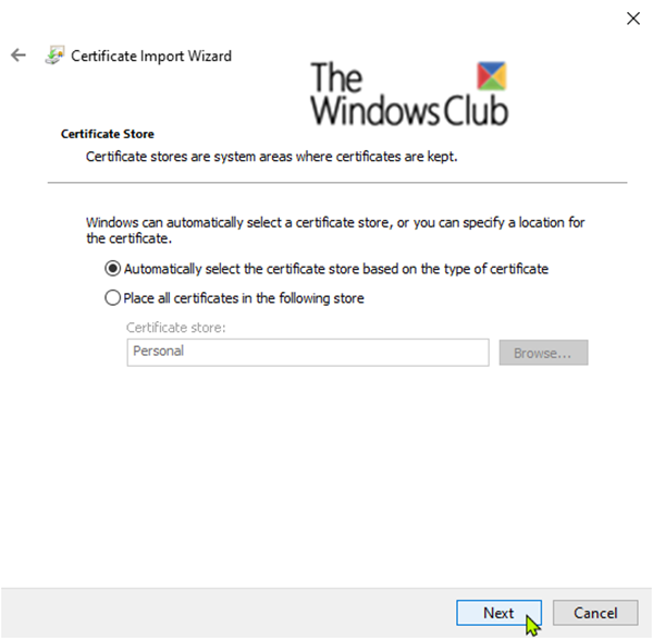 Import EFS File Encryption Certificate and Key (PFX file) in Windows 10