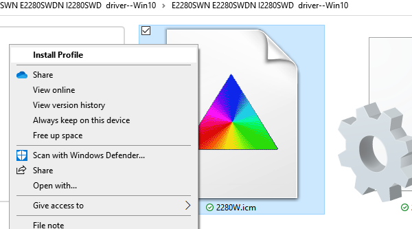 install color profile ICC windows 10
