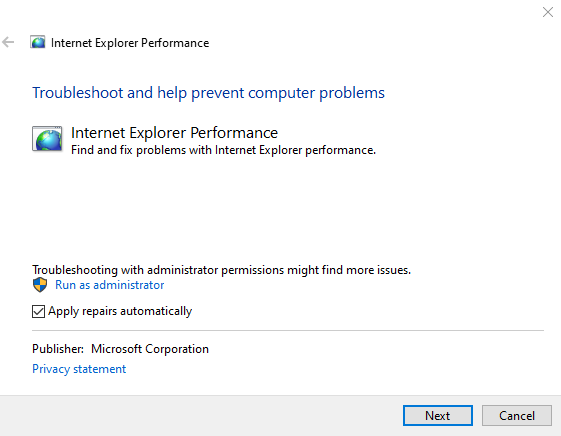 Performance Safety Internet Explorer Troubleshooters