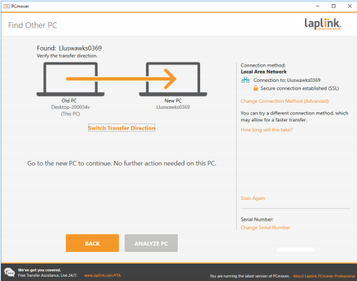 Laplink PC Mover Find New PC